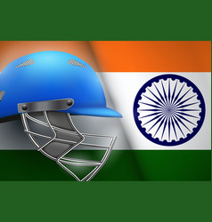 cricket helmet and india flag vector image vector image