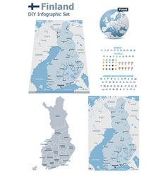 Finland maps with markers vector image vector image