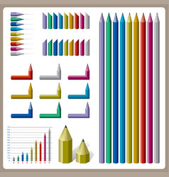 full color pencil design for graph vector image vector image