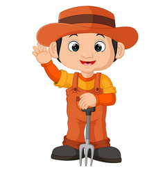cartoon farmer holding a rake vector image