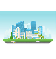 modern city with cars vector image