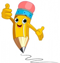pencil character giving thumbs up vector image