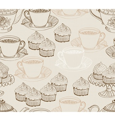 seamless tea background vector image