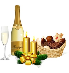 Christmas cookie champagne and candle isolated on vector image