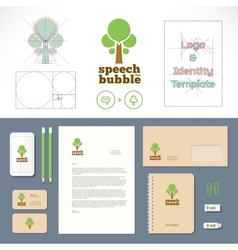 Speech Bubble Tree Logo and Identity Template vector image vector image