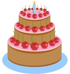 Sweet Chocolate Birthday Cake vector image
