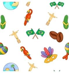 Brazil pattern cartoon style vector image vector image