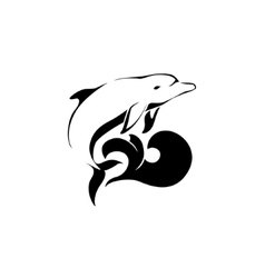 Dolphin jumping over a wave Dolphin logo vector image