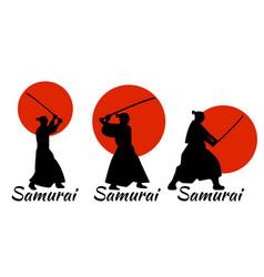 japanese samurai warriors silhouette katana sword vector image