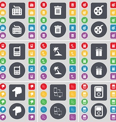 Keyboard trash can videotape mobile phone palm vector