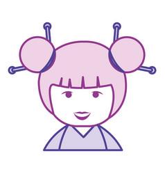 little japanese doll kawaii character vector image