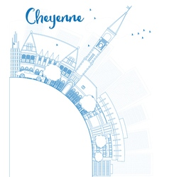 Outline Cheyenne Wyoming Skyline vector image