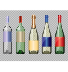 set of colored transparent glass alcohol vector image vector image