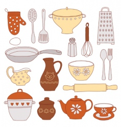 tableware and kitchen tools vector image vector image