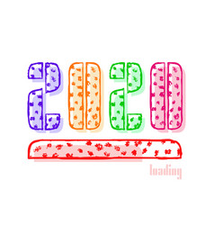 2020 happy new year loading with text and vector image