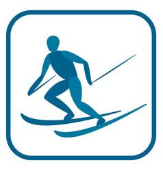 alpine skier emblem vector image