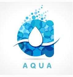 Aqua drop a letter logo vector