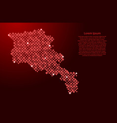 Armenia map from red pattern rhombuses vector