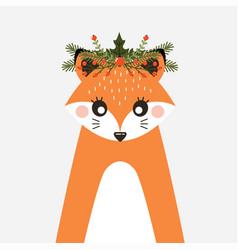 avatar cute fox with a christmas wreath vector image