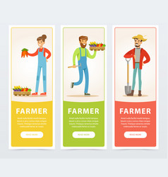 Banners with farmers harvesting and selling farm vector