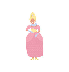 beautiful blonde princess in pink dress and gold vector image