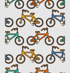 Bicycle pattern outline style bmx linear style vector
