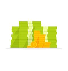 Big pile money heap cash flat cartoon style vector
