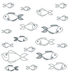 Blue dark silhouette different species fish vector