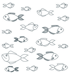 blue dark silhouette of different species fish vector image