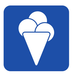 Blue white sign ice cream with three scoops icon vector