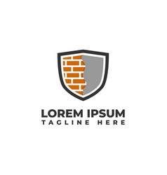 Brick wall and plastering shield logo icon vector