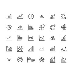 business graph outline icon set vector image