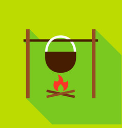campfire with kettle object icon vector image