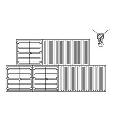 cargo containers icon in black and white vector image