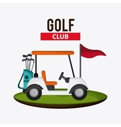 Cart and clubs icon Golf sport design vector
