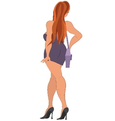 Cartoon girl with purple purse back view vector image