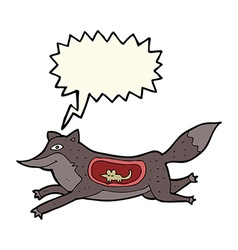 Cartoon wolf with mouse in belly with speech vector