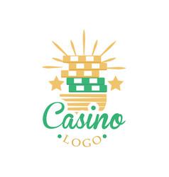 Casino and card poker logo vintage gambling badge vector