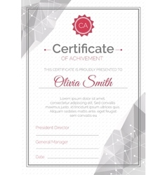 Certificate template polygonal style diploma vector