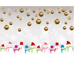 christmas balls background with snowman vector image