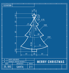 christmas tree as technical blueprint drawing vector image