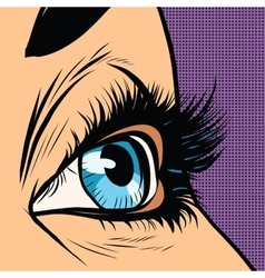 Close-up blue woman eye looks to right vector image