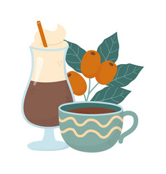 coffee time cups and cold latte fresh aroma vector image