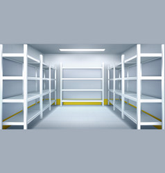 Cold room in warehouse with empty metal racks vector