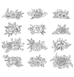 collection hand drawn floral compositions vector image