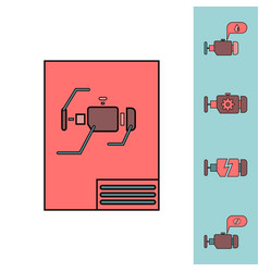 Collection of icons and car engine concept vector