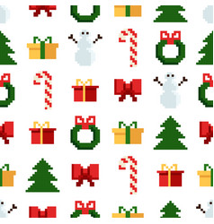 Colorful pixel pattern with christmas elements vector
