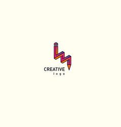 contour modern logo of a pencil gradient vector image