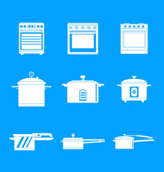 Cooker oven stove pan icons set simple style vector