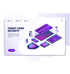 Credit card security isometric concept safety vector